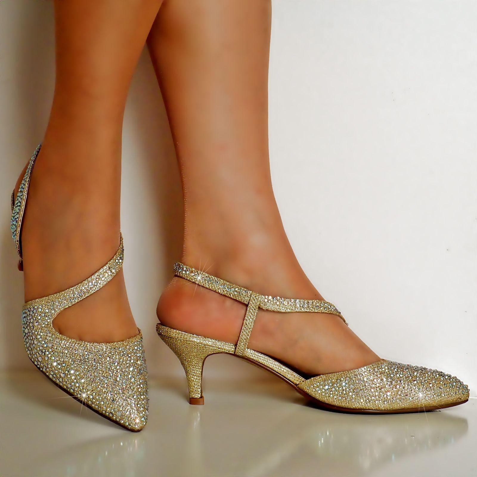 New Ladies Diamante Party Evening Prom Low Kitten Heel Court Shoe Size 007 Bridal Shoes Low Heel Kitten Heel Shoes Gold Shoes Heels