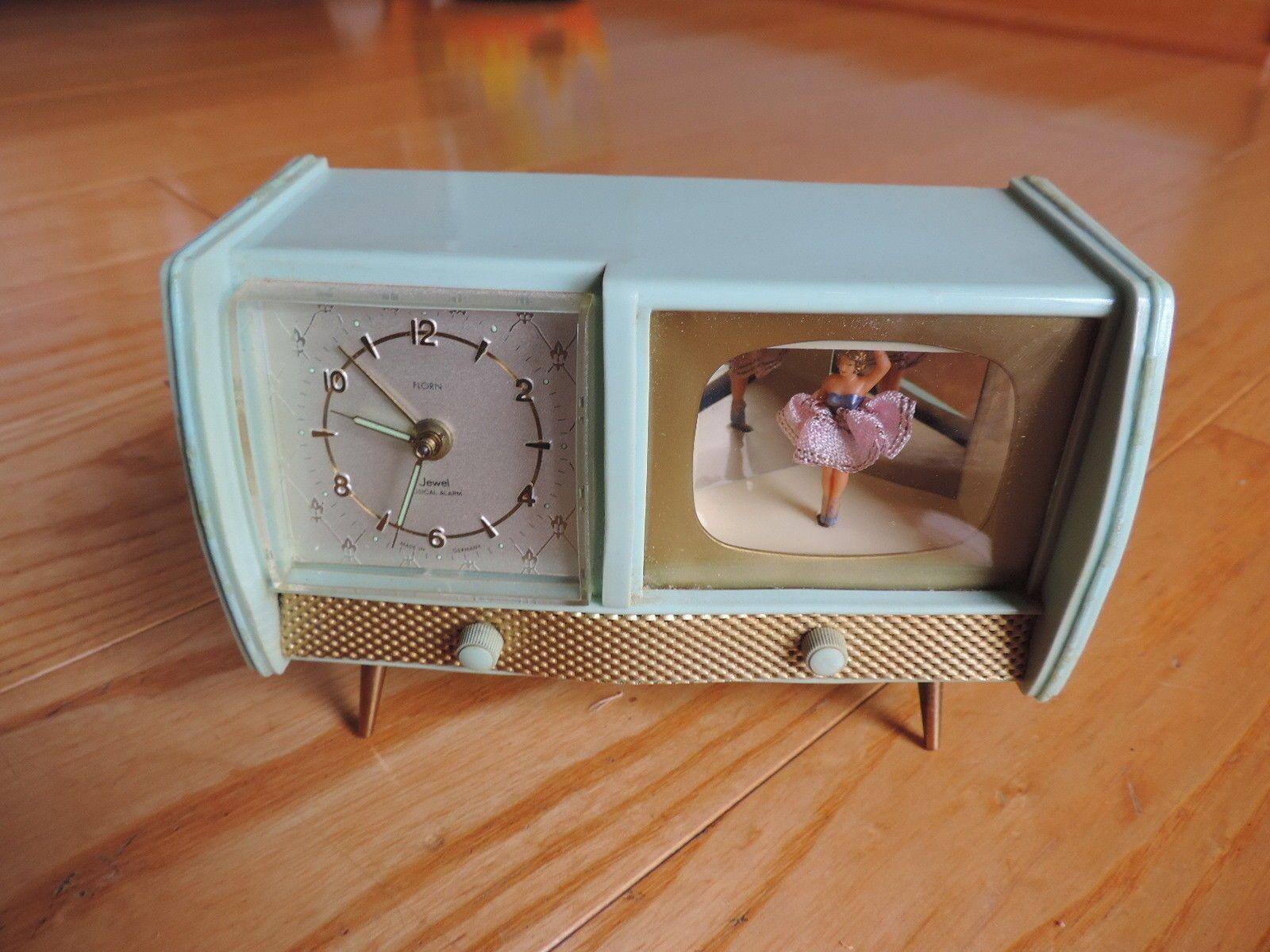 Vtg Florn Retro Alarm Clock Ballerina Music Box Bleu Danube Television Style Retro Alarm Clock Unique Alarm Clocks Clock