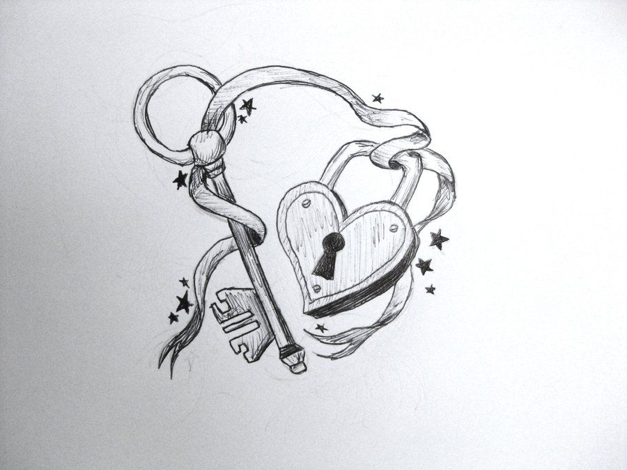 This is a picture of Shocking Heart Lock And Key Drawing