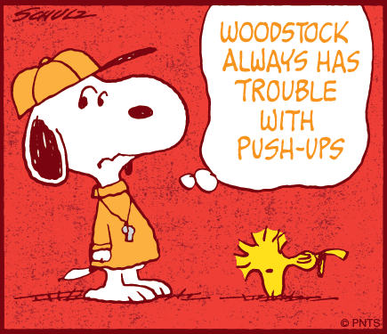 Push ups? Hard for Woodstock.