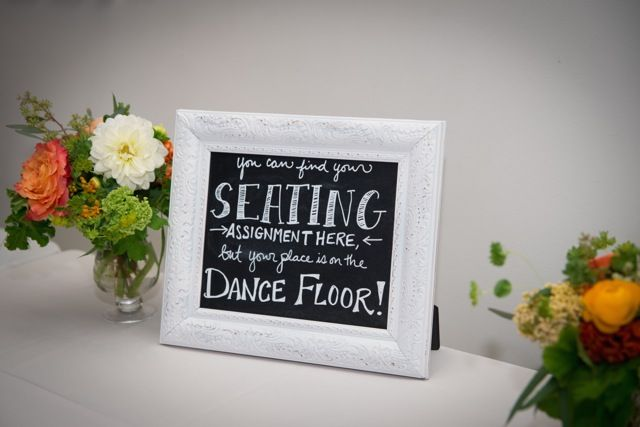 Small chalkboard sign for wedding escort cards