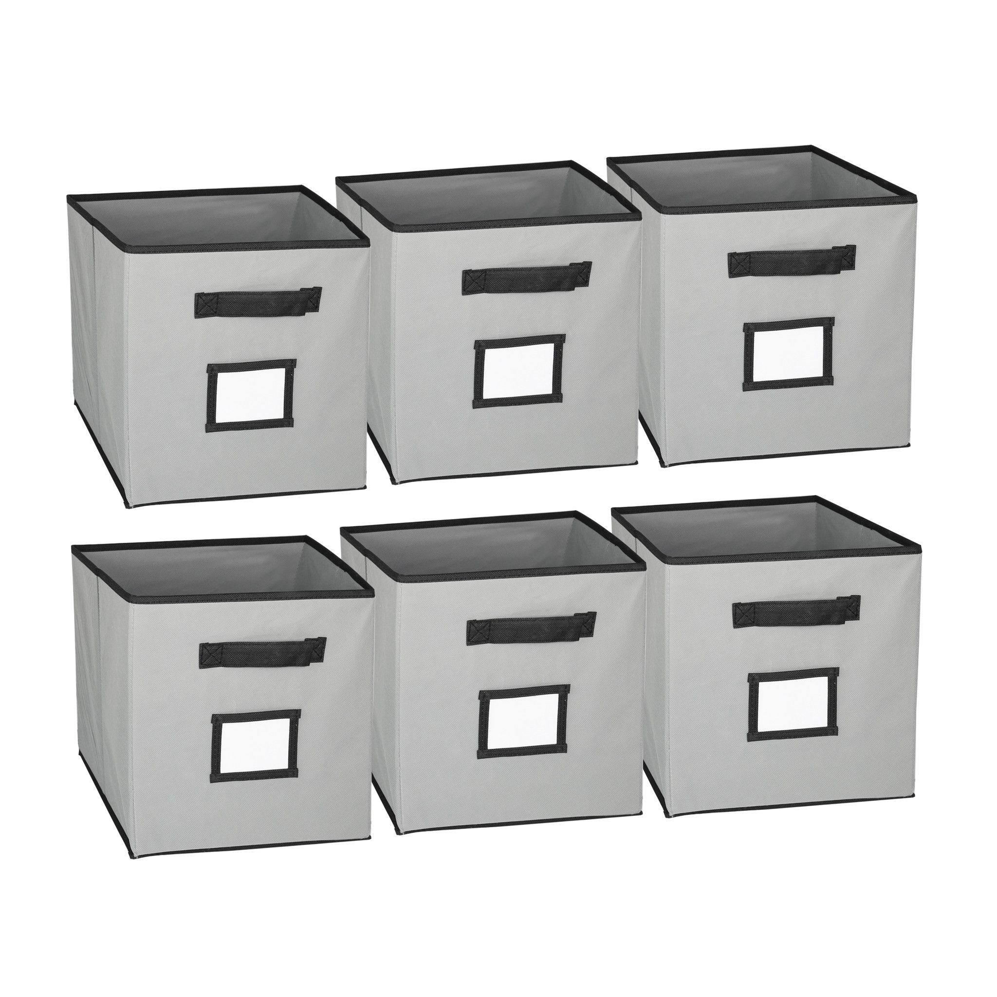 Collapsible Fabric Cubicle Storage Bins Set of 6 with Label Window