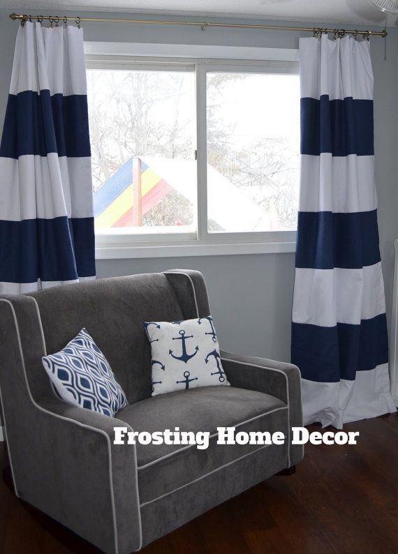 Custom Navy Blue Striped Curtains Stripes Color Blocked