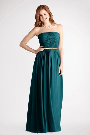 A thin belt accents this strapless long chiffon gown with a crisscross  ruched bodice and flowy skirt. 0536d4e0c