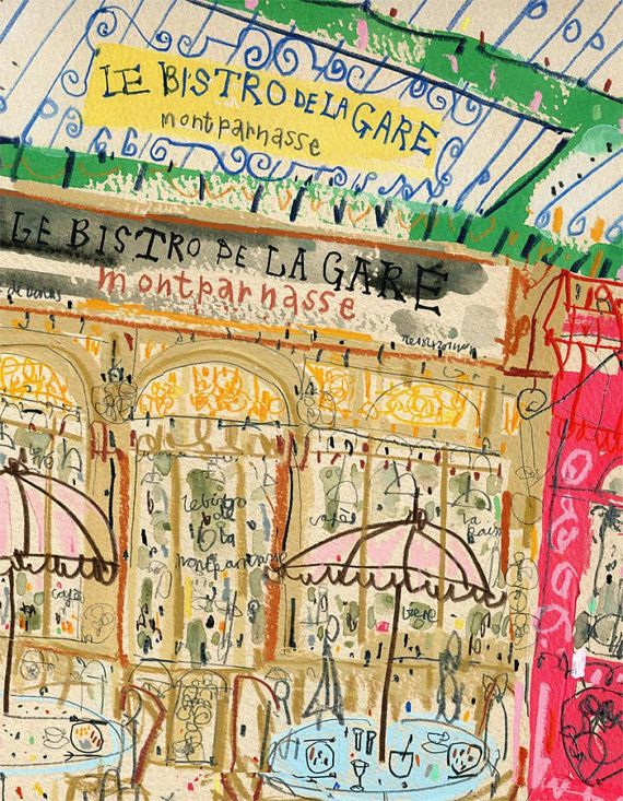 PARIS RESTAURANT BISTRO, French Cafe Art, Signed Print Watercolor ...