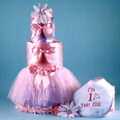This Baby's First Tutu Diaper Cake is just for those precision little baby girls out there.