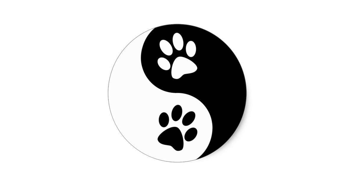 Yin Yang Dog Paws Classic Round Sticker   Zazzle.com