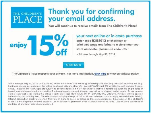 Save 15 At The Children S Place Coupon Childrens Place Coupons Printable Coupons Free Printable Coupons