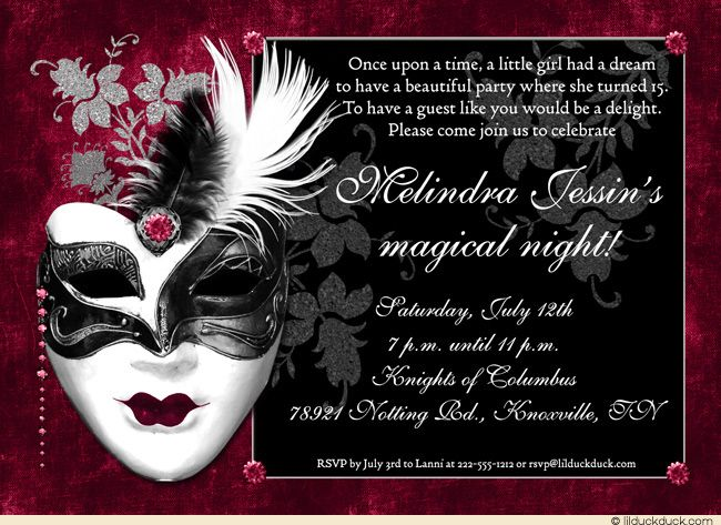Black Ruby Sweet 15 Masquerade Invitation Wording Quinceanera Mask
