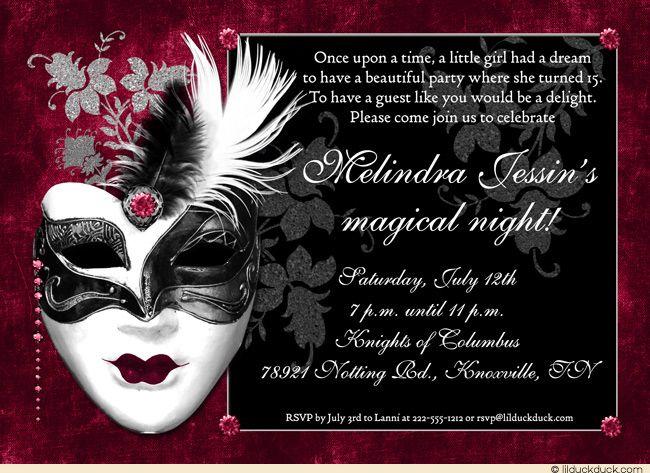 Black Ruby Sweet Masquerade Invitation Wording Quinceanera Mask - Masquerade party invitations templates