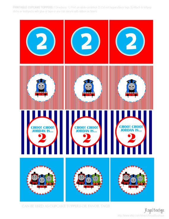 It is an image of Universal Free Printable Thomas the Train Cup Cake Toppers