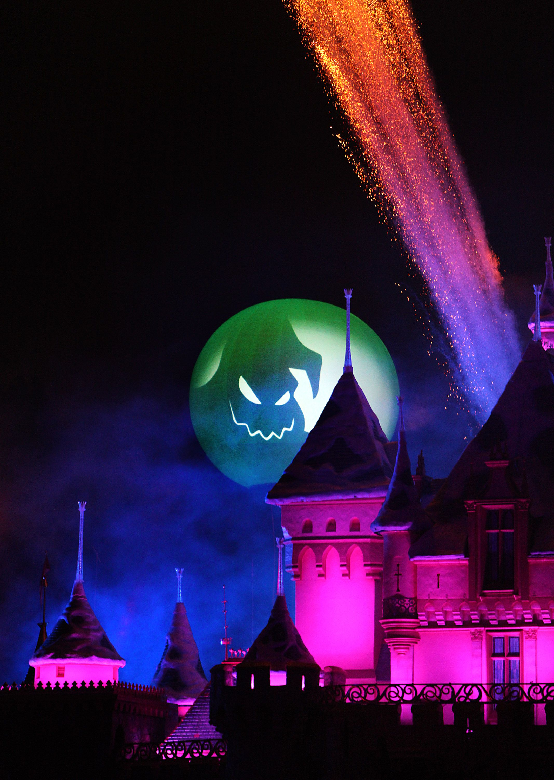 jack skellington presides over the halloween screams fireworks spectacular which lights up the sky surrounding sleeping beauty castle at disneyland park