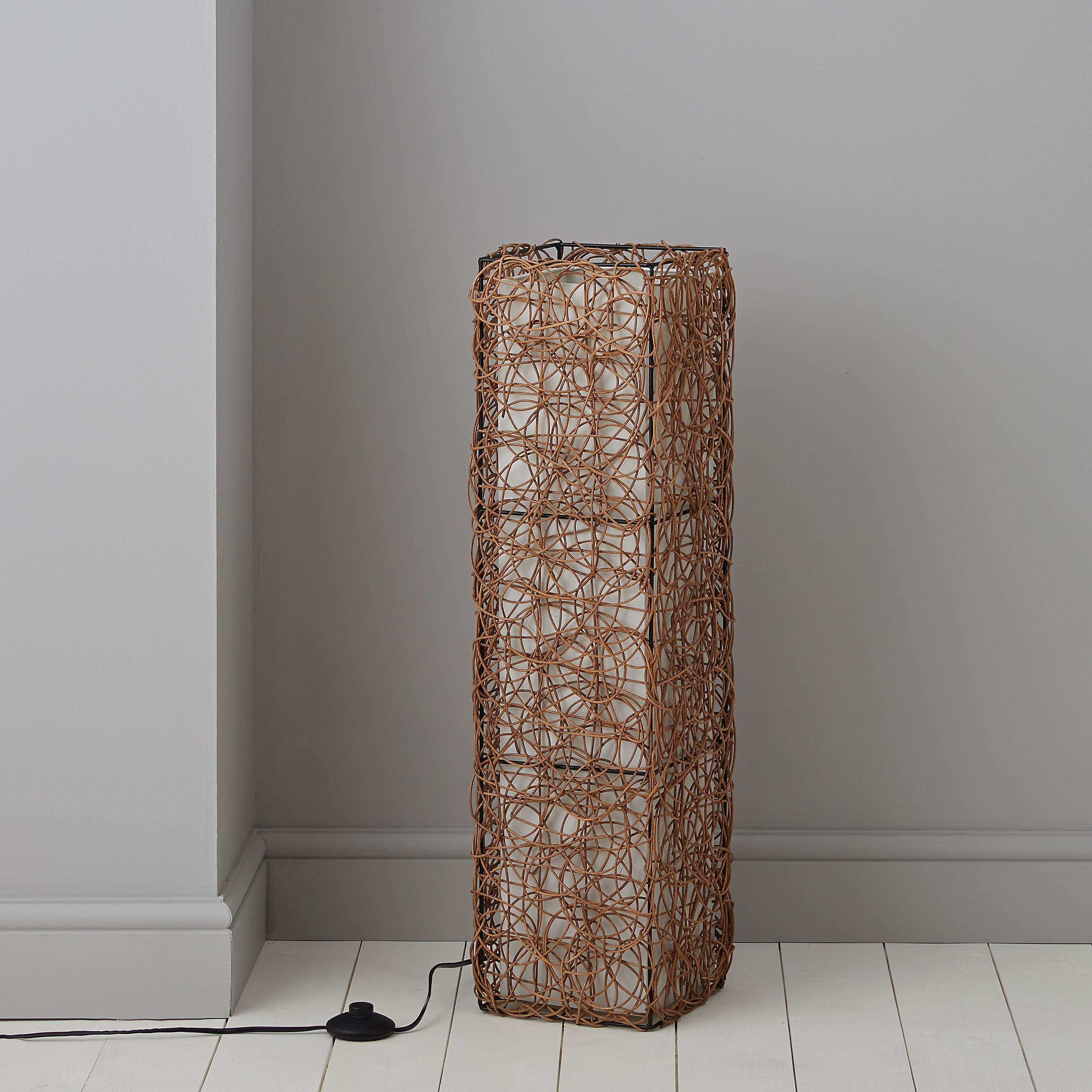Plymouth Brown & Cream Floor Lamp | Plymouth, Floor lamp and Rattan