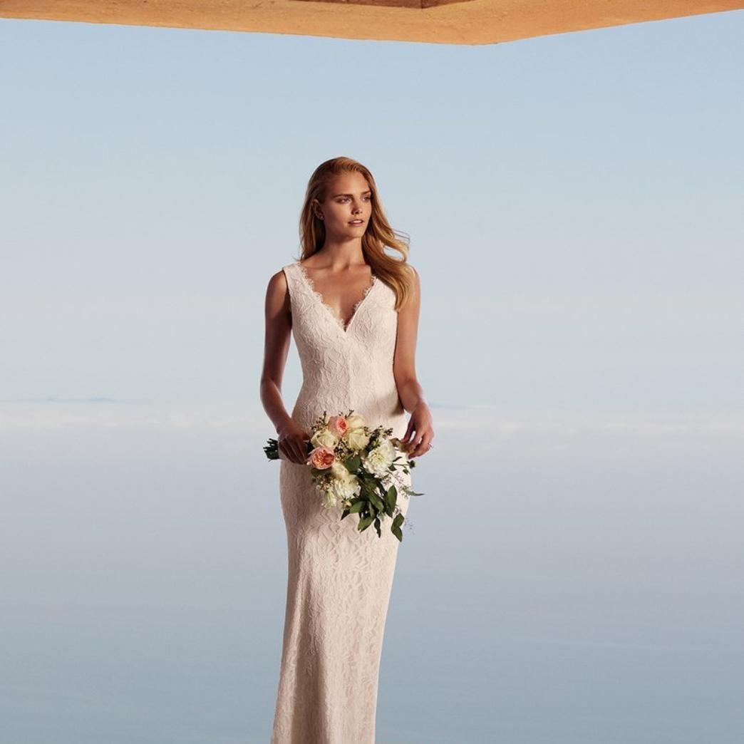 Allover Lace V-Neck Sheath Wedding Dress - Davids Bridal   Wedding ...