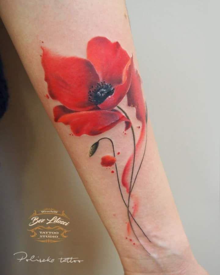 Poliszka Tattoo Bez Litosci Tattoo Studio Wroclaw Blumentattoos Mohnblumen Tattoo Blumen Tatowierungen