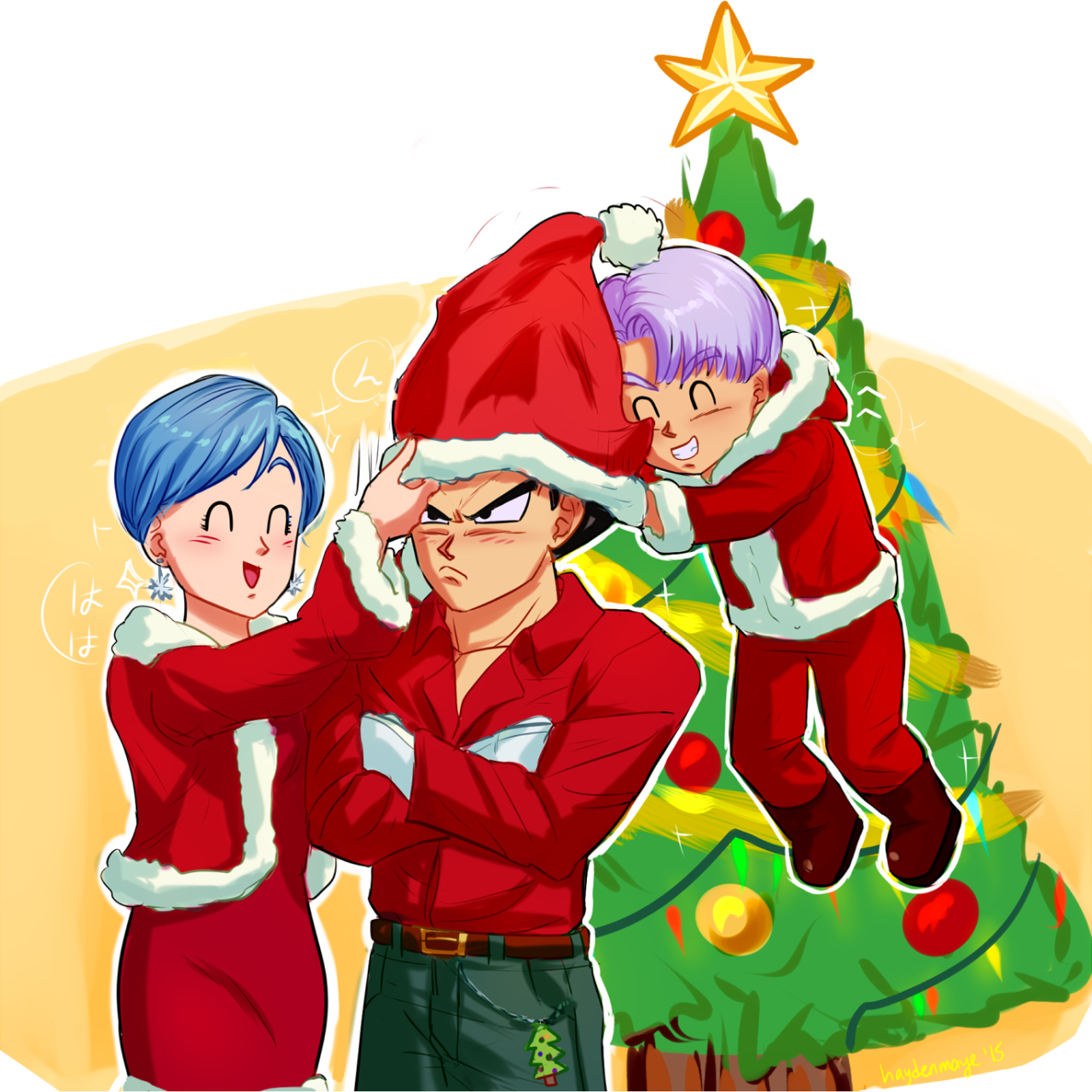 Dragon Ball Super Christmas Wallpaper: Vegeta ~ Bulma ~ Trunks