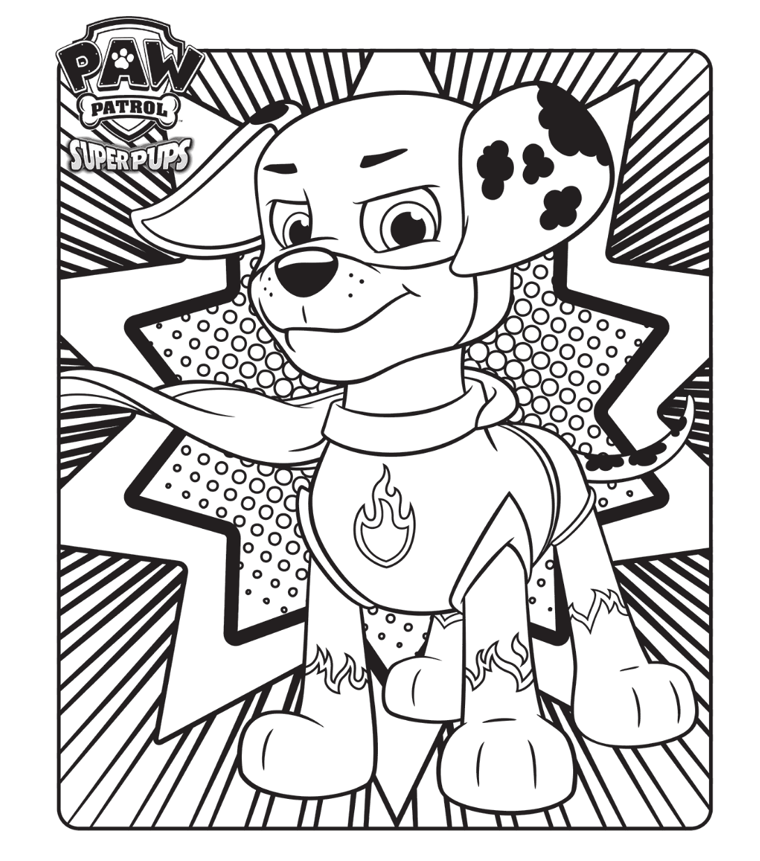 PAW Patrol Super Pups Colouring Page
