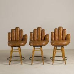 Marvelous A Set Of Three Leather Baseball Glove Swivel Bar Stools Bralicious Painted Fabric Chair Ideas Braliciousco