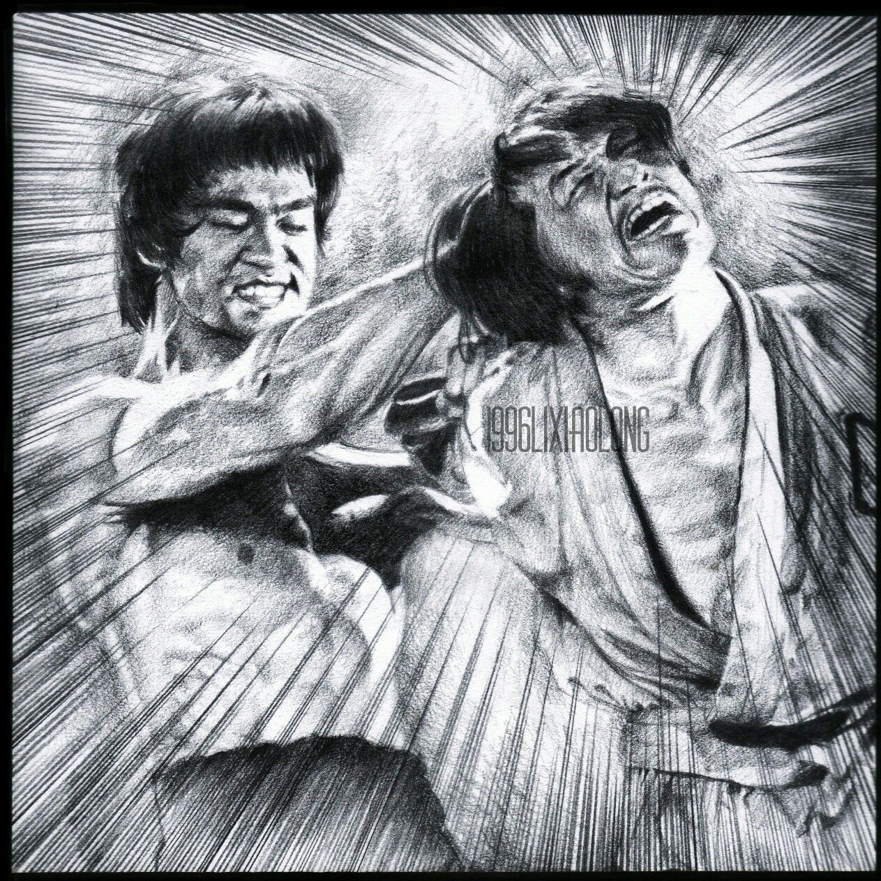 bruce lee vs jackie chan from enter the dragon by 1996lixiaolong