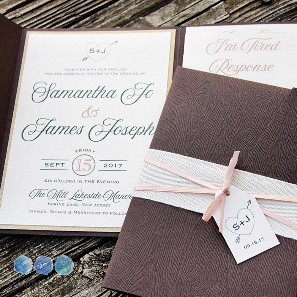Brown and blush rustic woodgrain wedding invitations   Woodgrain ...