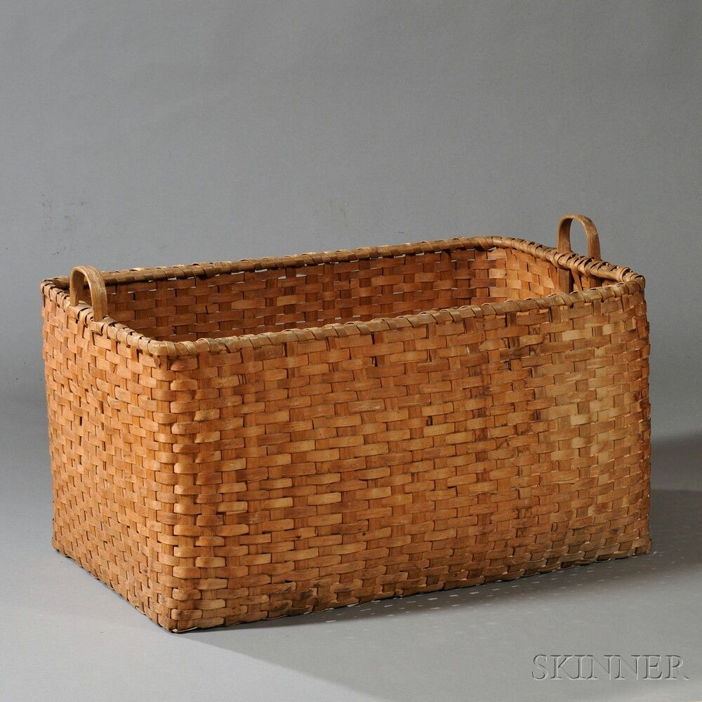 Large Rectangular Double Handled Splint Storage Basket, America, 19th  Century, With Carved Ash Handles, Ht. 22, Wd. 23 3/4, Lg. 39 1/2 In. $700   900.