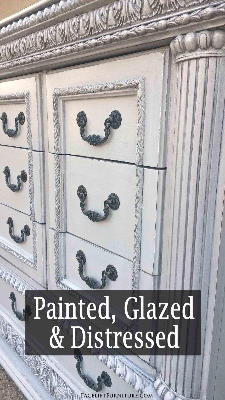 Ornate Dresser In Distressed Grey Black Glaze Shabby Chic Dresser Ornate Furniture Makeover Shabby Chic Decor [ 1671 x 940 Pixel ]