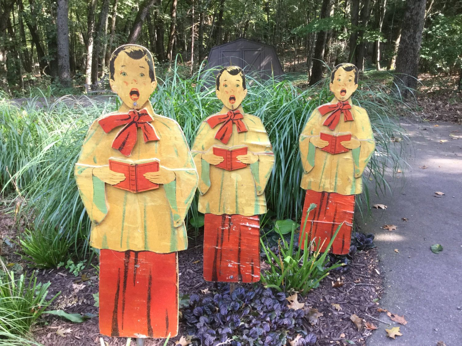 Vintage Outdoor Christmas Decorations For Sale.Vintage Trio Wood Singing Carolers Choirboy Christmas Yard