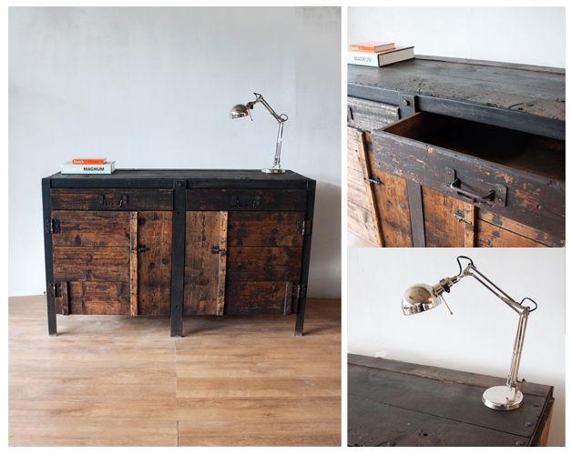 houten industriele werkbank dressoir sfeer   Kasten   Pinterest   Desks