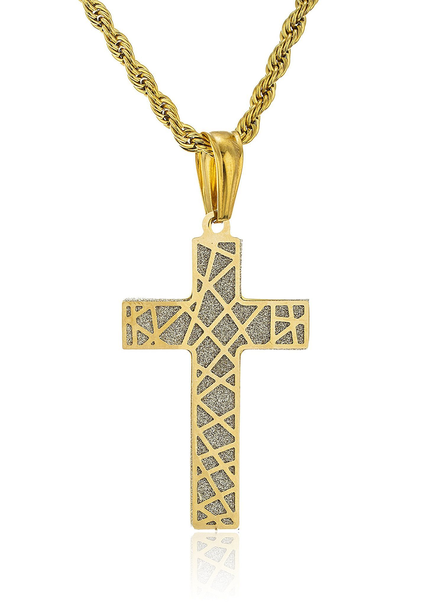 Stainless steel goldtone cross design with sandblast pendant and a