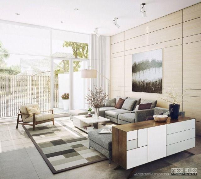 Modernes Wohnzimmer Naturfarben Grau Holz Weiß