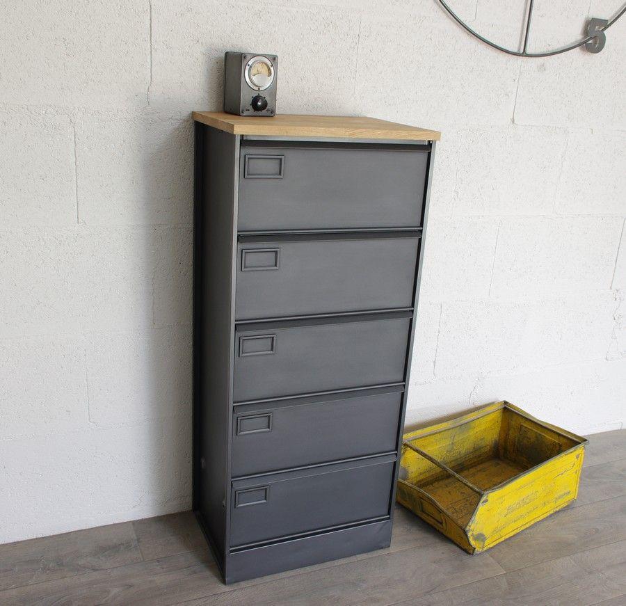 Meuble 5 clapets m talliques rangement cr ation restauration de meuble industriel - Restauration meuble industriel ...