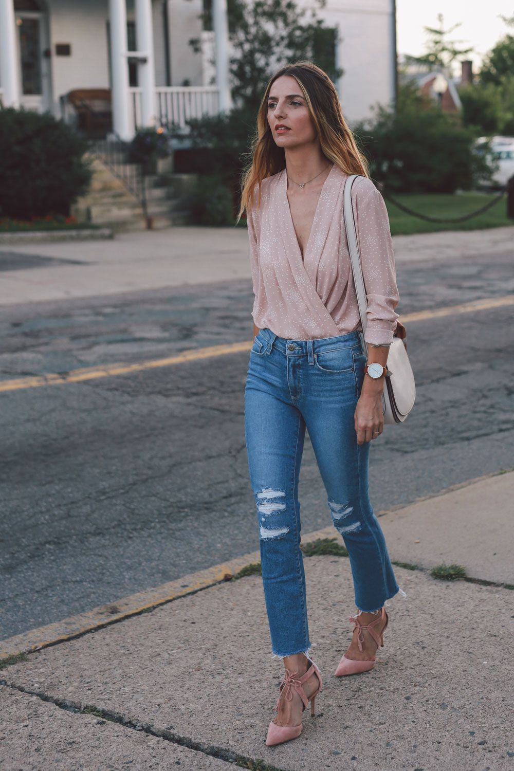 blush wrap blouse paige straight leg jeans ann taylor heels prosecco and plaid-1…
