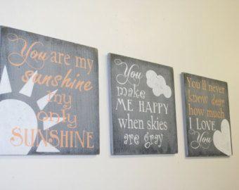 You Are My Sunshine Nursery Wall Art Girls Nursery Wallhanging Gray and Coral Nursery Handpainted Handmade Vintage Nursery