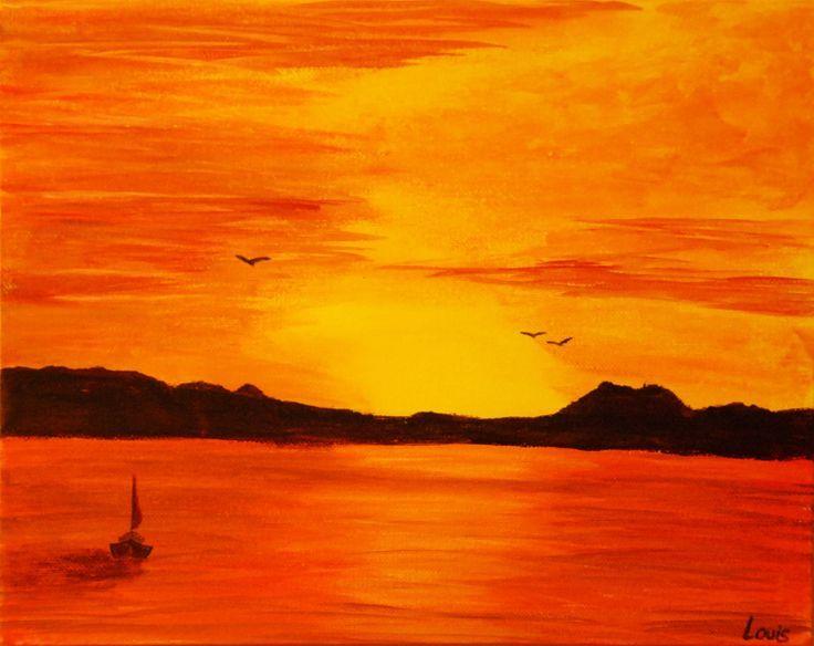 R sultat de recherche d 39 images pour peinture de coucher - Coucher de soleil dessin ...