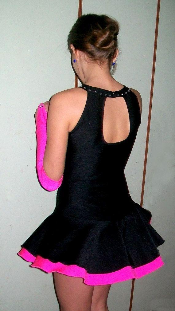 Negro y fucsia rosa vestido de patinaje con guantes para - Guantes de hielo ...