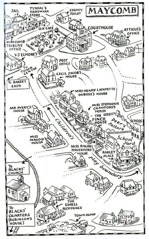 Map Of Maycomb County A map of Maycomb in To Kill A Mockingbird by Harper Lee | Literary  Map Of Maycomb County