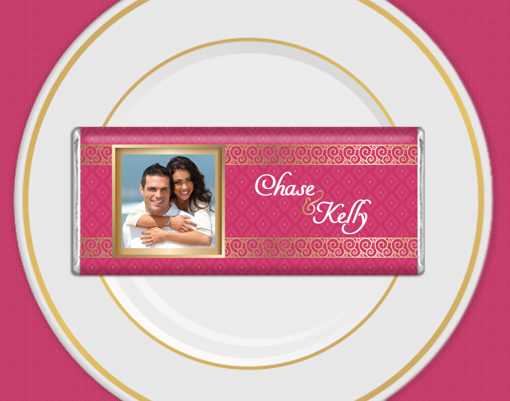 Blush pink and gold wedding favors with the bride and groom\'s photo ...