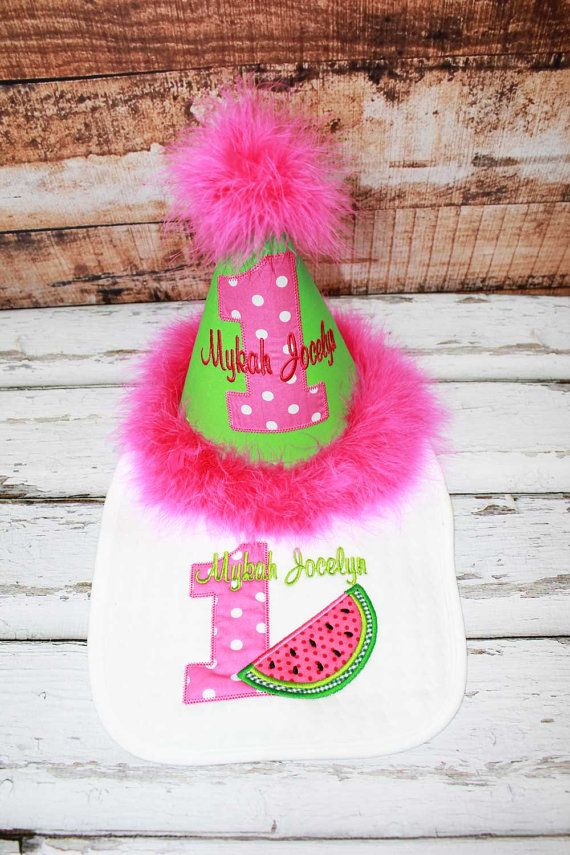 Pink Watermelon Birthday Hat Bib ShirtWatermelon By TiptopKidsTees 1st Outfits Baby First
