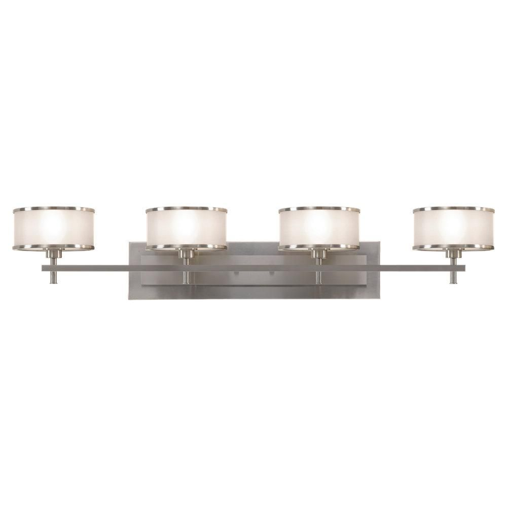 Four Light Steel Vanity Casual Luxury Brushed Steel  Shade Simple Luxury Bathroom Lighting Fixtures Design Decoration