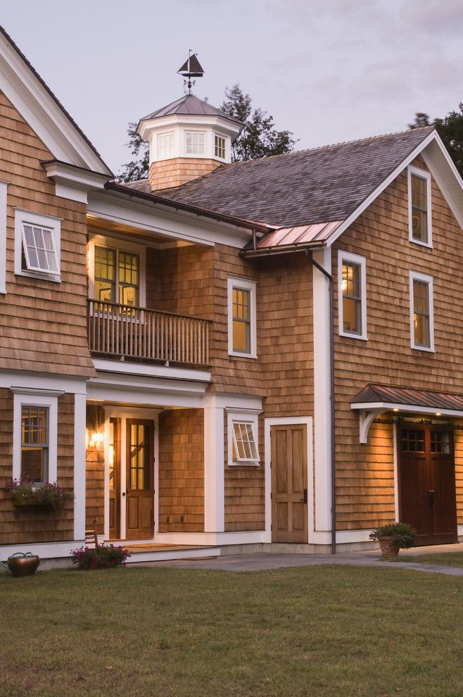 Cedar Shake Siding Exterior Traditional With Balcony Balustrade Barn Door Cape Cod Grass Shingle Siding Cedar Homes Cedar Shingle Siding