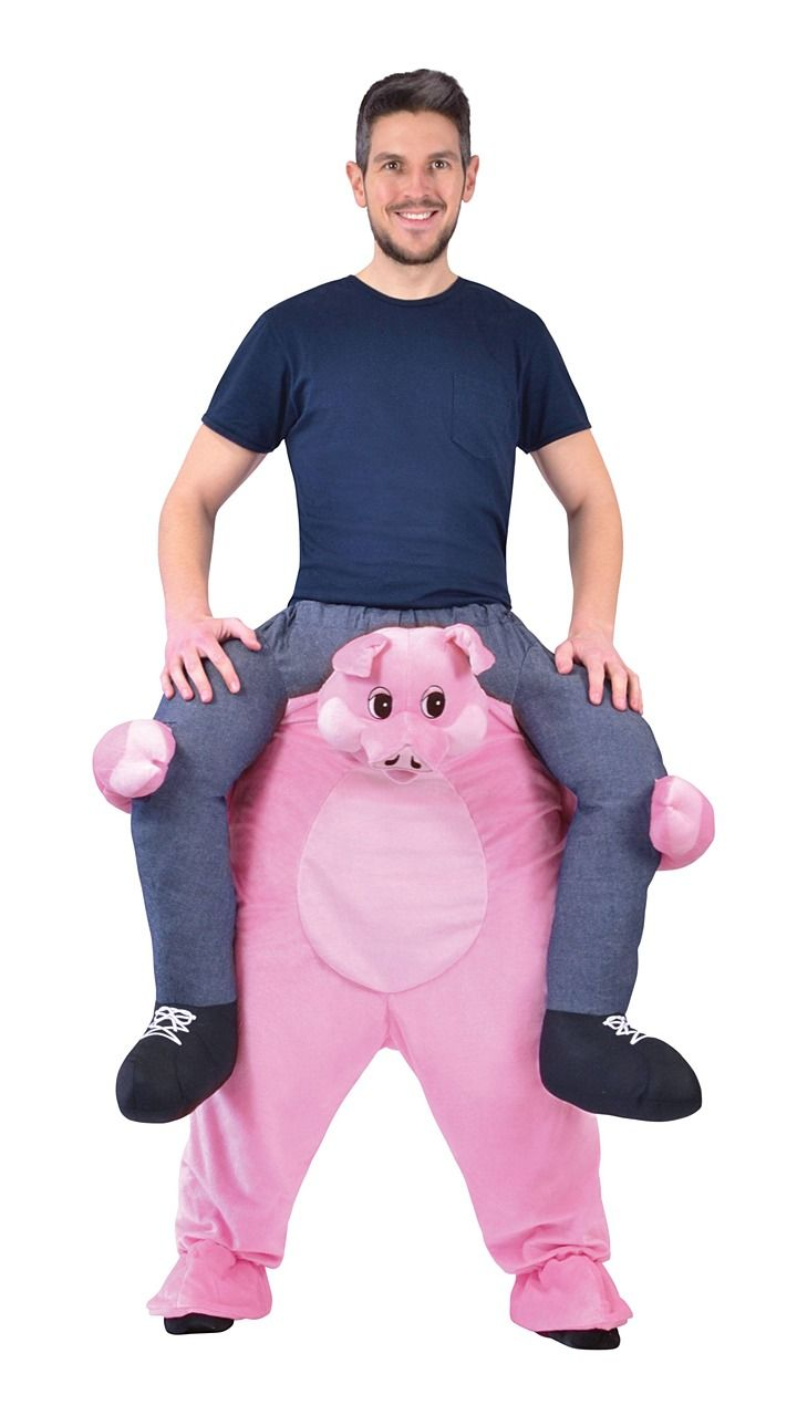 Piggy Back Pig Costume Ride On Carry Me Mascot Funny Adult Halloween One Size