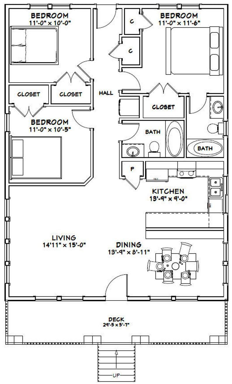 30x40 House 3 Bedroom 2 Bath 1 200 Sq Ft Pdf Floor Plan Instant Download Model 2d In 2020 Cabin Floor Plans 1200sq Ft House Plans Basement House Plans