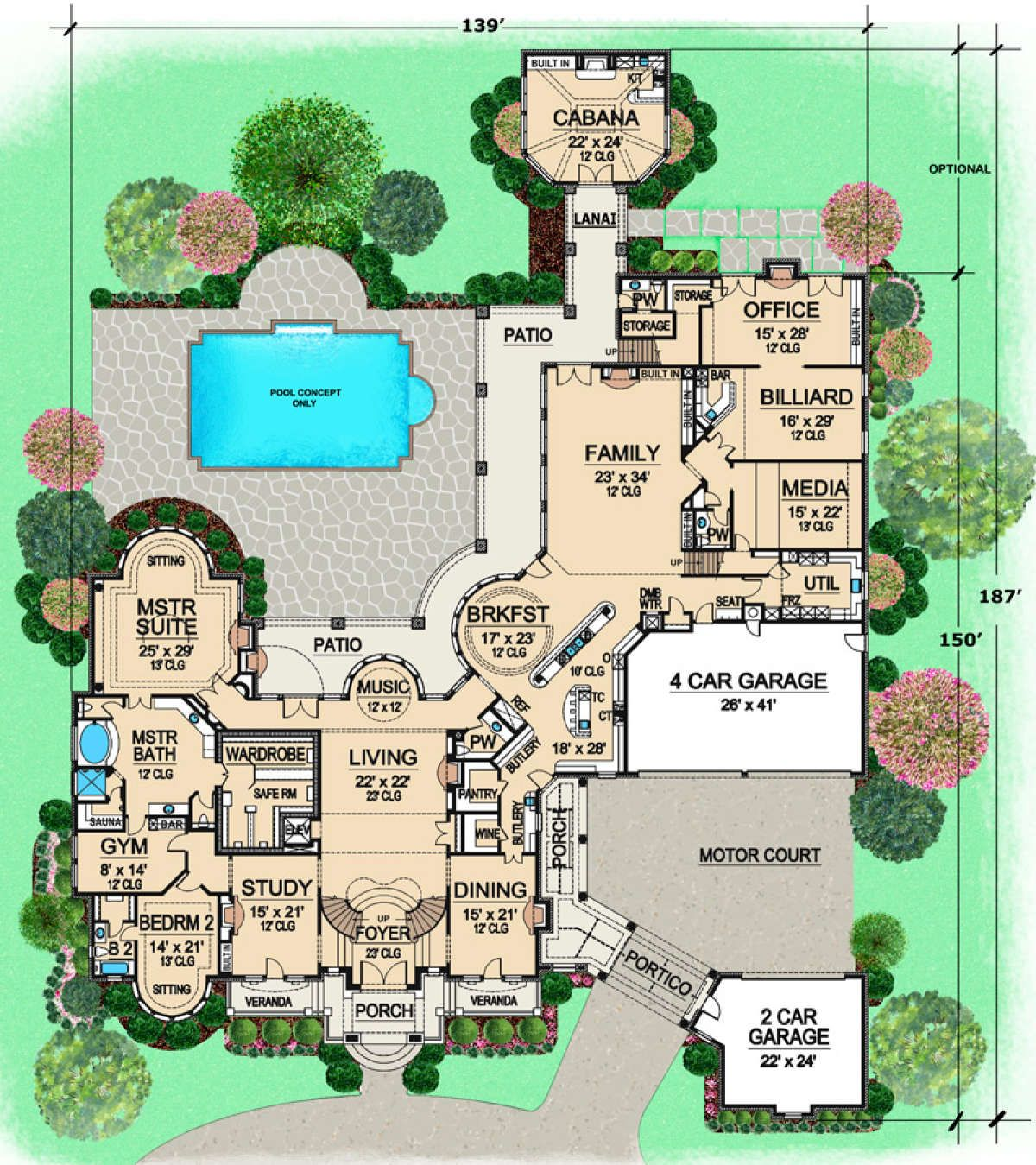 House Plan 5445 00080 European Plan 15 079 Square Feet 7 Bedrooms 9 Bathrooms Large House Plans European Plan Luxury Floor Plans
