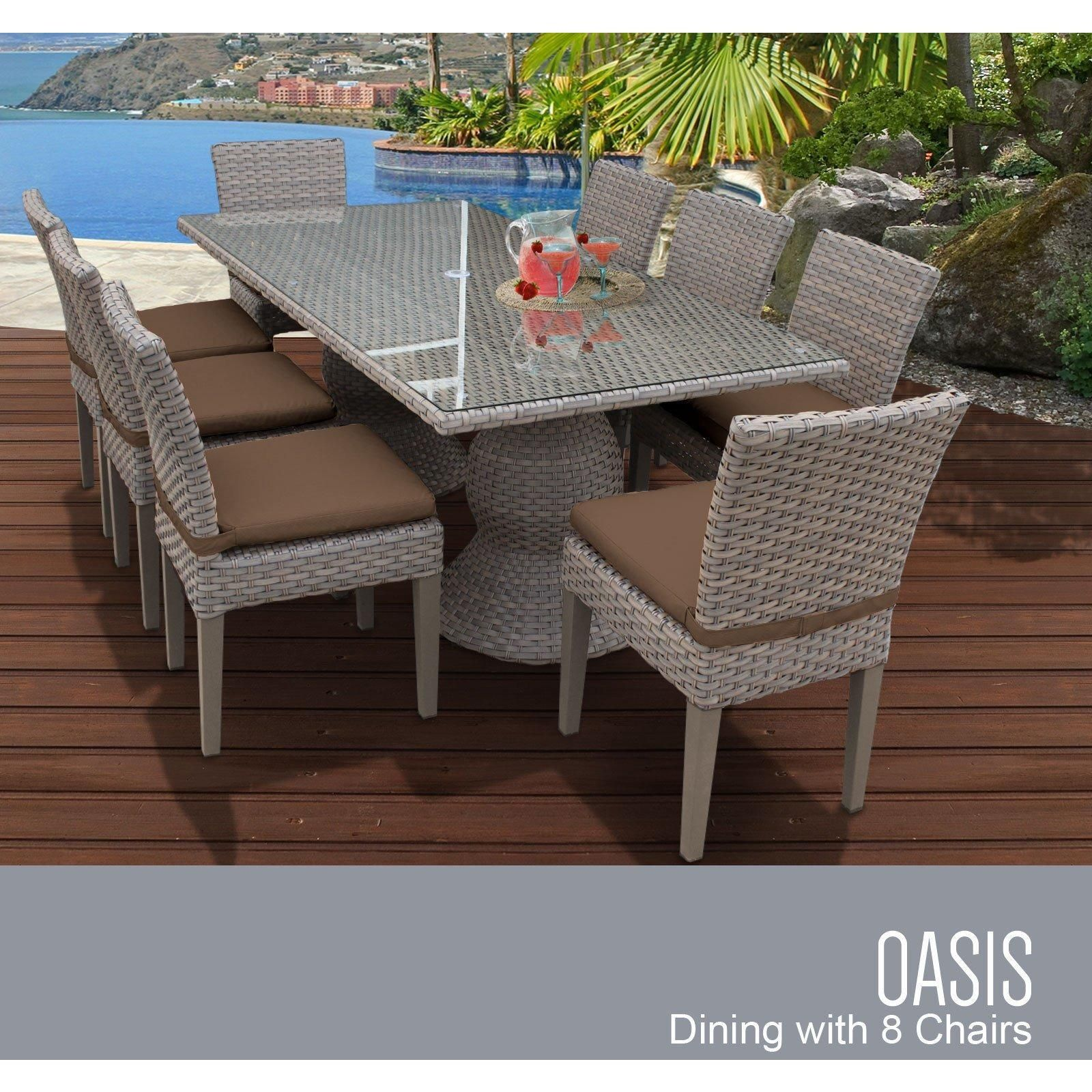 Oasis Rectangular Outdoor Patio Dining Table with 8 Armless Chairs