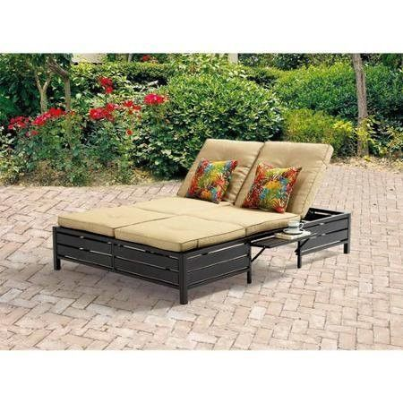 Mainstays Double Chaise Lounger Tan Patio Chaise Lounge Double Chaise Lounge Outdoor Outdoor Daybed