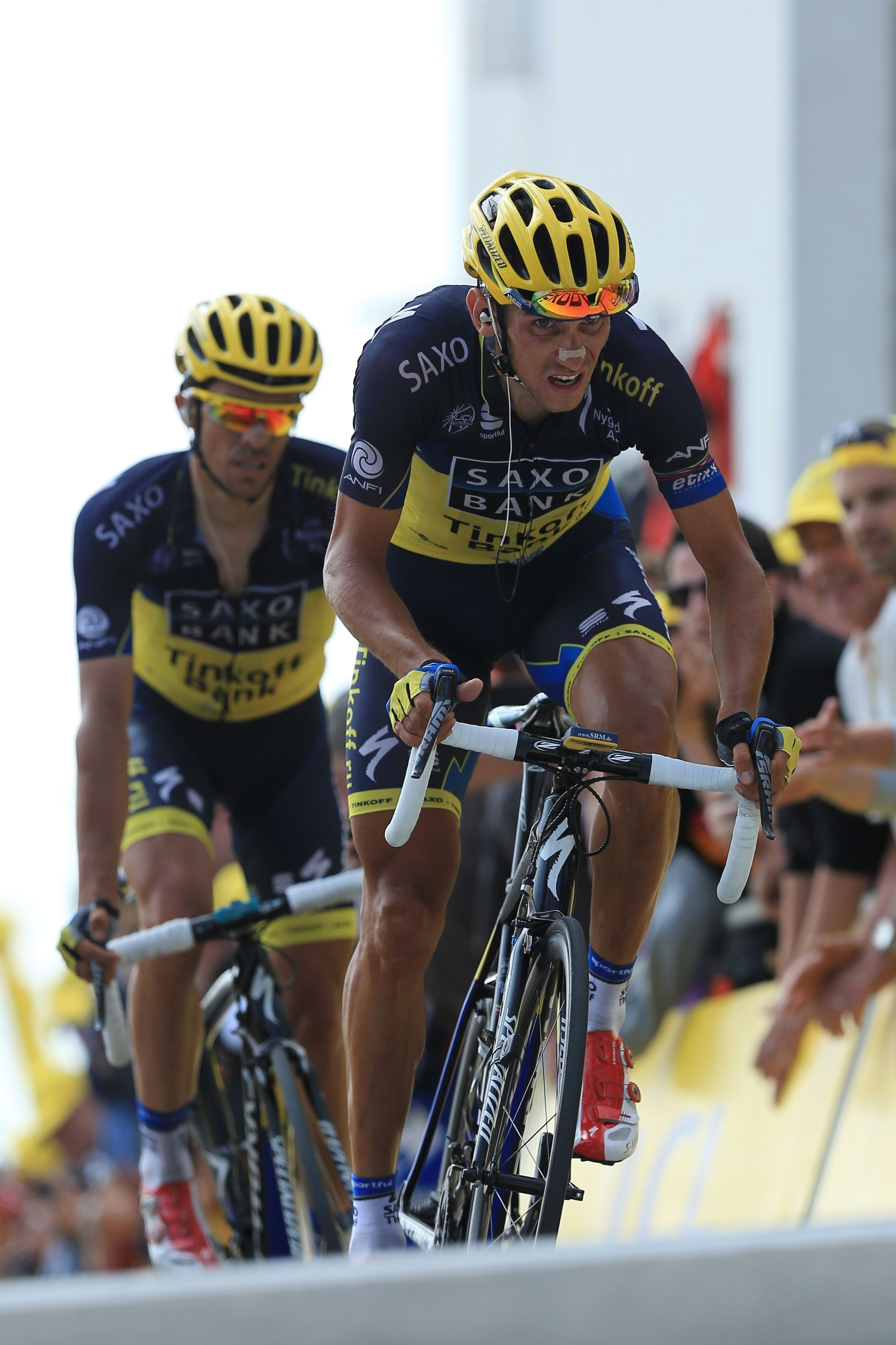 MONT VENTOUX, FRANCE - JULY 14: Roman Kreuzinger of the Czech Republic leads team-mate Alberto Contador of Spain and Team Saxo-Tinkoff over the finish line during stage fifteen of the 2013 Tour de France, a 242.5KM road stage from Givors to Mont Ventoux, on July 14, 2013 on Mont Ventoux, France. (Photo by Doug Pensinger/Getty Images)