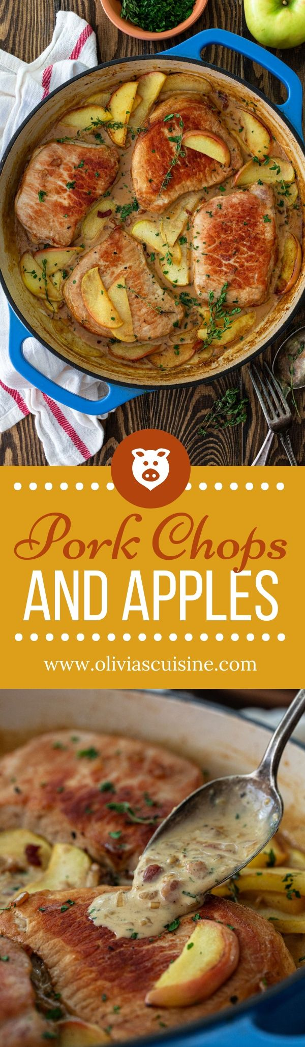 Pork Chops and Apples with a Creamy Bacon Bourbon Sauce |  |These delicious Pork Chops and Apples m