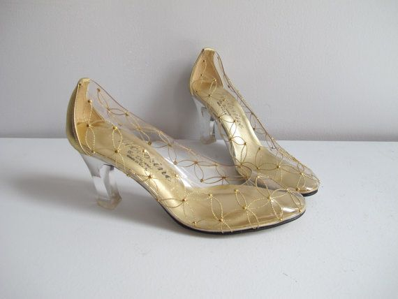 Vintage Clear Plastic Shoes with Acrylic High Heel Size 7N   NOS Dezario  High Heel Pumps, 70s Cinderella See Through Shoes with Gold Accent d47f35bd1031