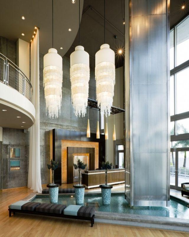 Haushoher Wasserfall-Zimmerbrunnen design glas Fontäne-Pendelleuchte ...