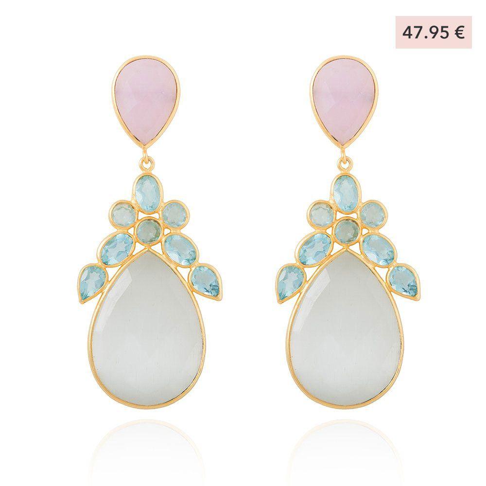 ventas calientes 603c0 49f73 Lavani Jewels - Joyas online - Pendientes Capri Rosa Blanco ...